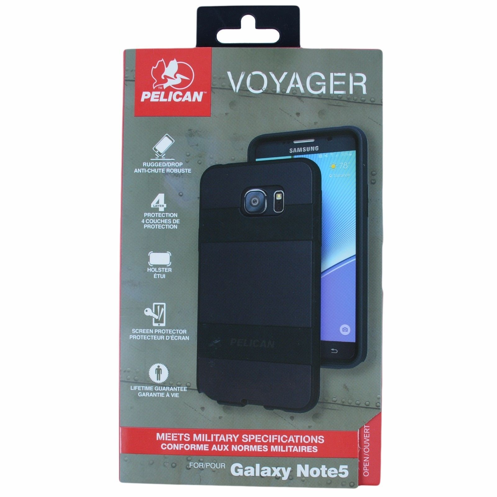 Original Pelican Voyager Series Case & Holster Clip for Samsung Galaxy Note 5