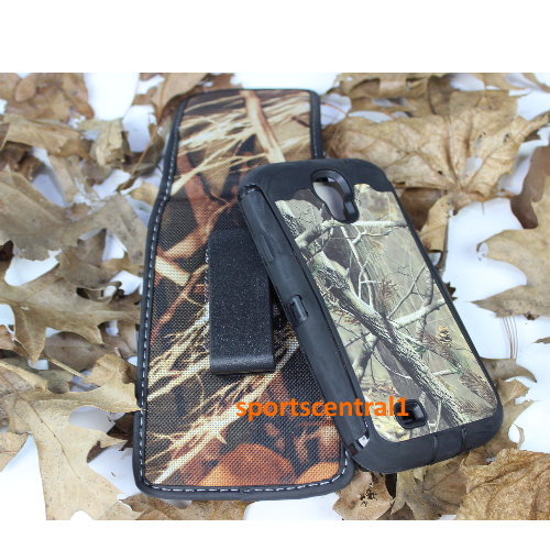 Samsung Defender Built In Screen Case Cover w/ Holster for Galaxy S4 Camo Black
