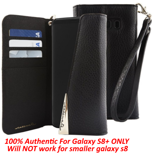 Case Mate Premium Leather Folio Wristlet ID Card Wallet for Galaxy S8+ Plus