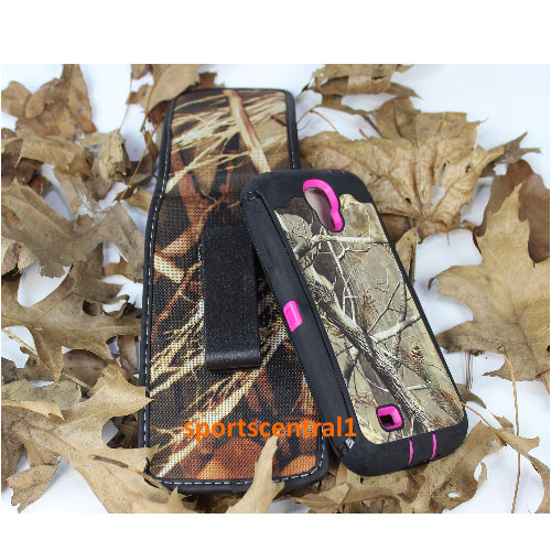 Samsung Defender Built In Screen Case Cover With Holster for Galaxy S4 Camo Pink