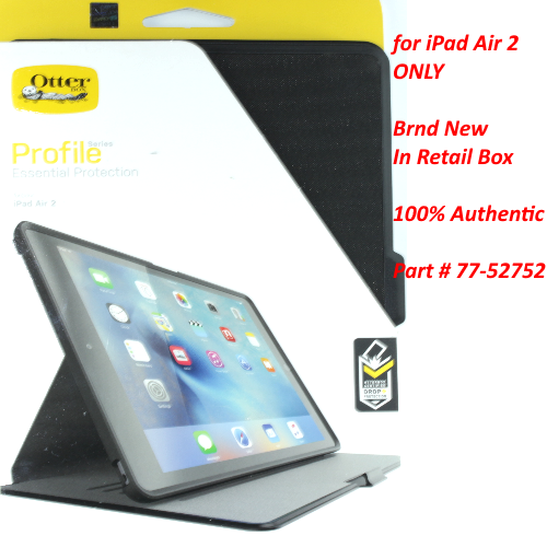 Authentic New OtterBox PROFILE SERIES Slim Case Cover For iPad Air 2 Black