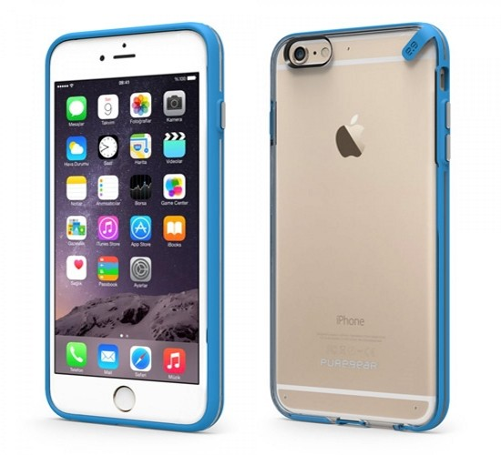 Authentic PureGear Slim Shell Case Cover For iPhone 6S Clear Ice With Blue Edges