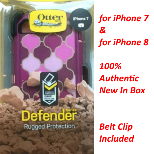 New OtterBox Defender Series Cover Case+Holster For iPhone 7 & 8 ARABESQUE