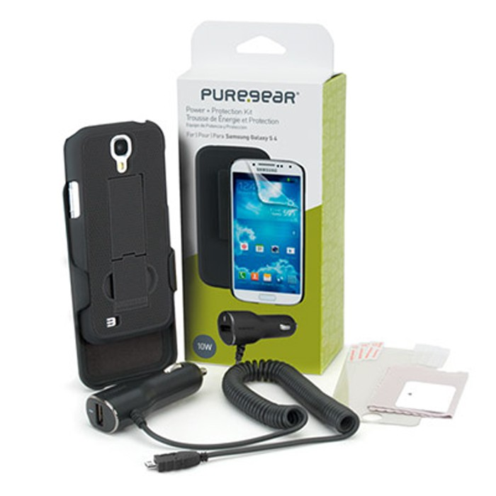 SAMSUNG GALAXY S4 POWER AND PROTECTION BUNDLE PUREGEAR CASE W/ KICKSTAND + MORE