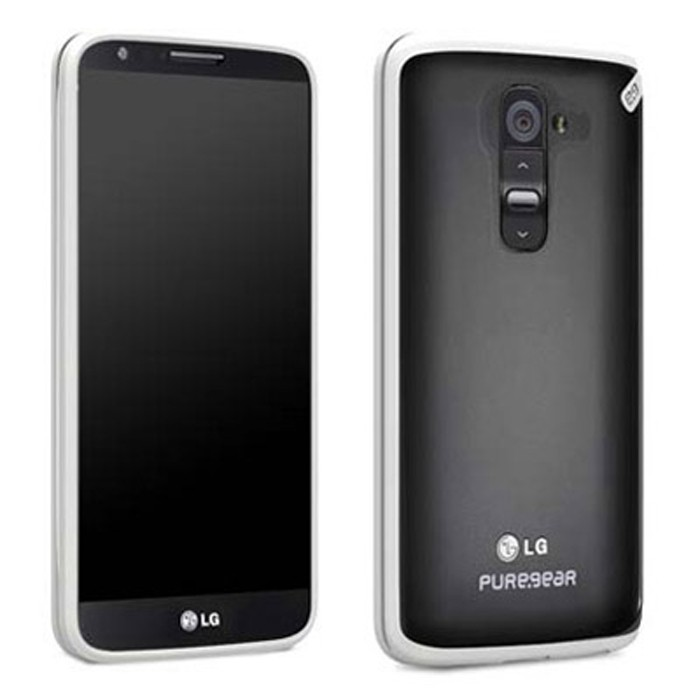 AUTHENTIC LG G2 (AT&T / SPRINT / T-MOBILE) PUREGEAR (CLEAR/WHITE) SLIM SHELL CASE