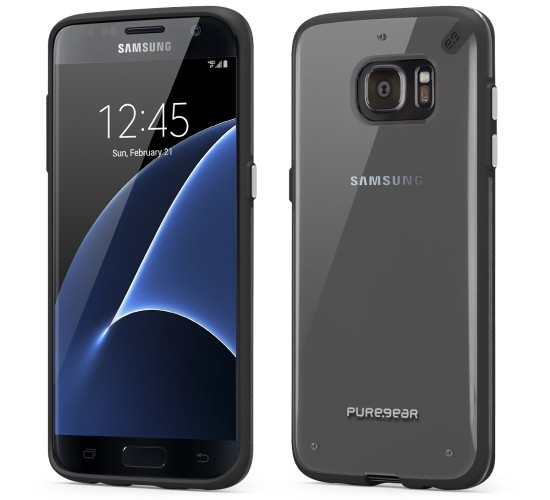 Authentic PureGear Slim Shell Case For Samsung Galaxy S7 Edge Clear Ice & Black