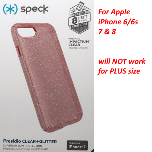 Speck Presidio Clear+Glitter Case Cover for iPhone 8 7 6s 6 - Rose Pink Glitter