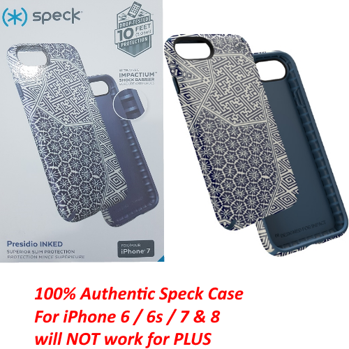 Authentic Speck Presidio Inked Case Slim Cover For iPhone 8 7 6s 6 Shibori Blue