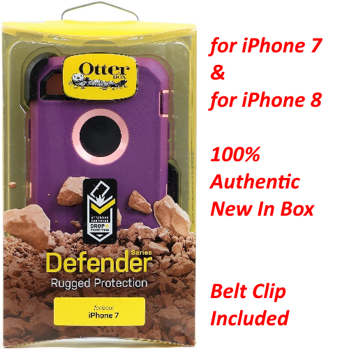 New OtterBox Defender Cover Case+Holster For iPhone 7 & 8 Vinyasa Burgundy Pink