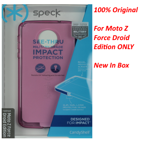 New Speck CandyShell Case For Moto Z Force Droid Edition Clear Pink / Purple