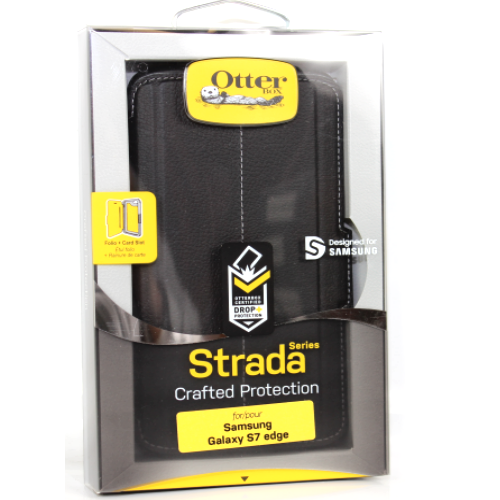 New Otterbox Strada Series Leather Case For Samsung Galaxy S7 Edge Onyx Black