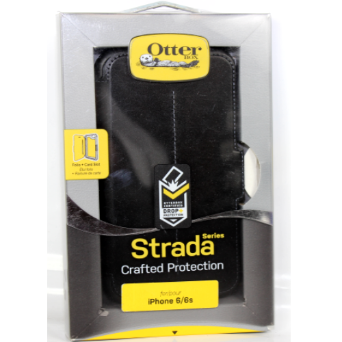 Authentic OtterBox STRADA SERIES Leather Wallet Case For iPhone 6/6S - Black
