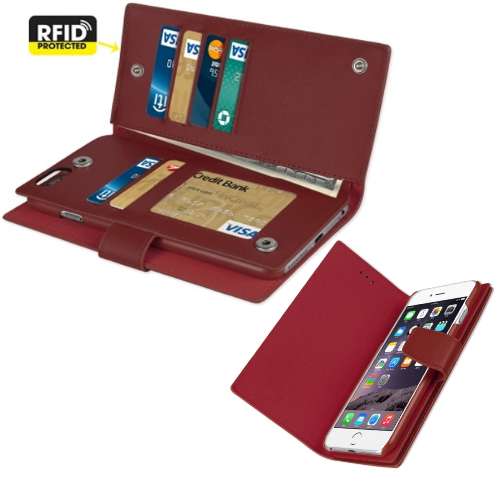 100% Genuine Real Leather Double Wallet Case Cover for Iphone 6/6S Plus Burgundy