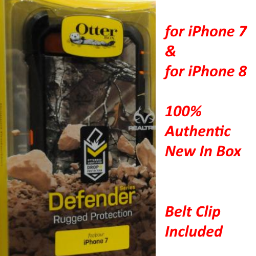 OtterBox Defender Series Cover Case+Holster For iPhone 7 & 8 Realtree Xtra Blaze