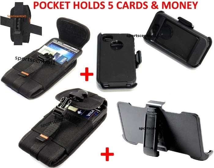 For iPhone 4/4S Defender Case+Holster+Card Card Pouch [Clip Fits Otterbox]