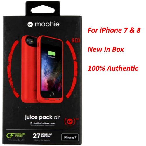 Authentic Mophie juice pack air Battery Case For iPhone 7 & 8 (2,525mAh) Red