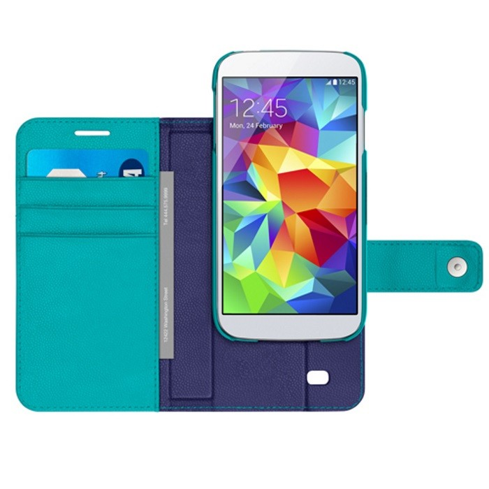 BELKIN (TURQUOISE/PURPLE) SAMSUNG GALAXY S5 TREND WALLET FOLIO CASE