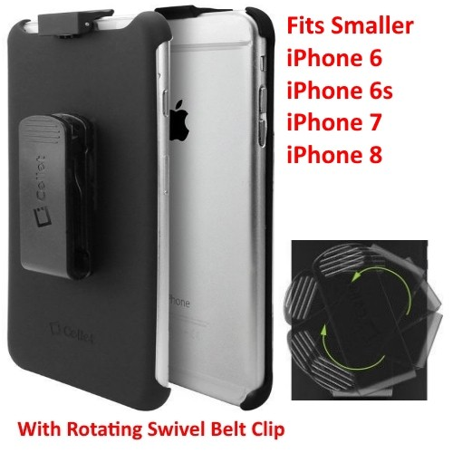 For Apple iPhone 6S / 6 / 7 & 8 BLACK Swivel Belt-Clip Carrying Holster - New
