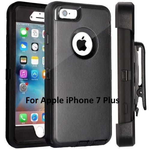 New Apple iPhone 7 Plus Case Cover Black (Belt Clip fits Otterbox Defender)