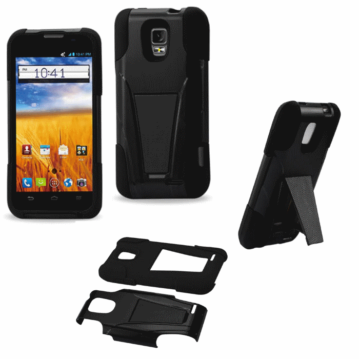 ZTE Z998 Black Heavy Duty Rugged Hard+Rubber Case Cover w/Stand Protector