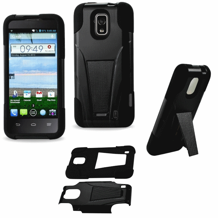 ZTE Solar 795 Black Heavy Duty Rugged Hard+Rubber Case Cover w/Stand Protector