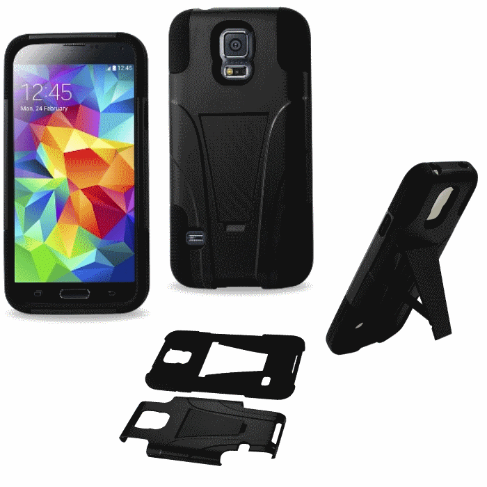 Samsung Galaxy S5 Black Heavy Duty Rugged Hard+Rubber Case Cover w/Stand