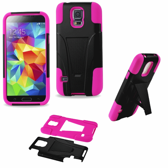 Samsung Galaxy S5 Pink Heavy Duty Rugged Hard+Rubber Case Cover w/Stand