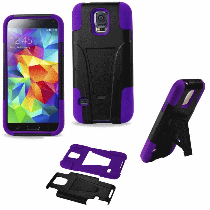 Samsung Galaxy S5 Purple Heavy Duty Rugged Hard+Rubber Case Cover w/Stand