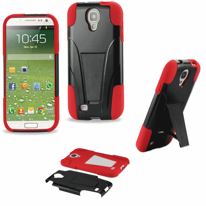 Samsung Galaxy S4 I9500 Red Heavy Duty Rugged Hard+Rubber Case Cover w/Stand