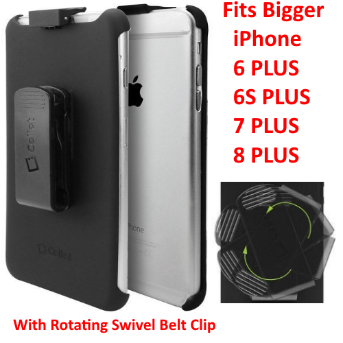 For iPhone 8 Plus 7 Plus 6S Plus 6 Plus BLACK Swivel Belt-Clip Carrying Holster