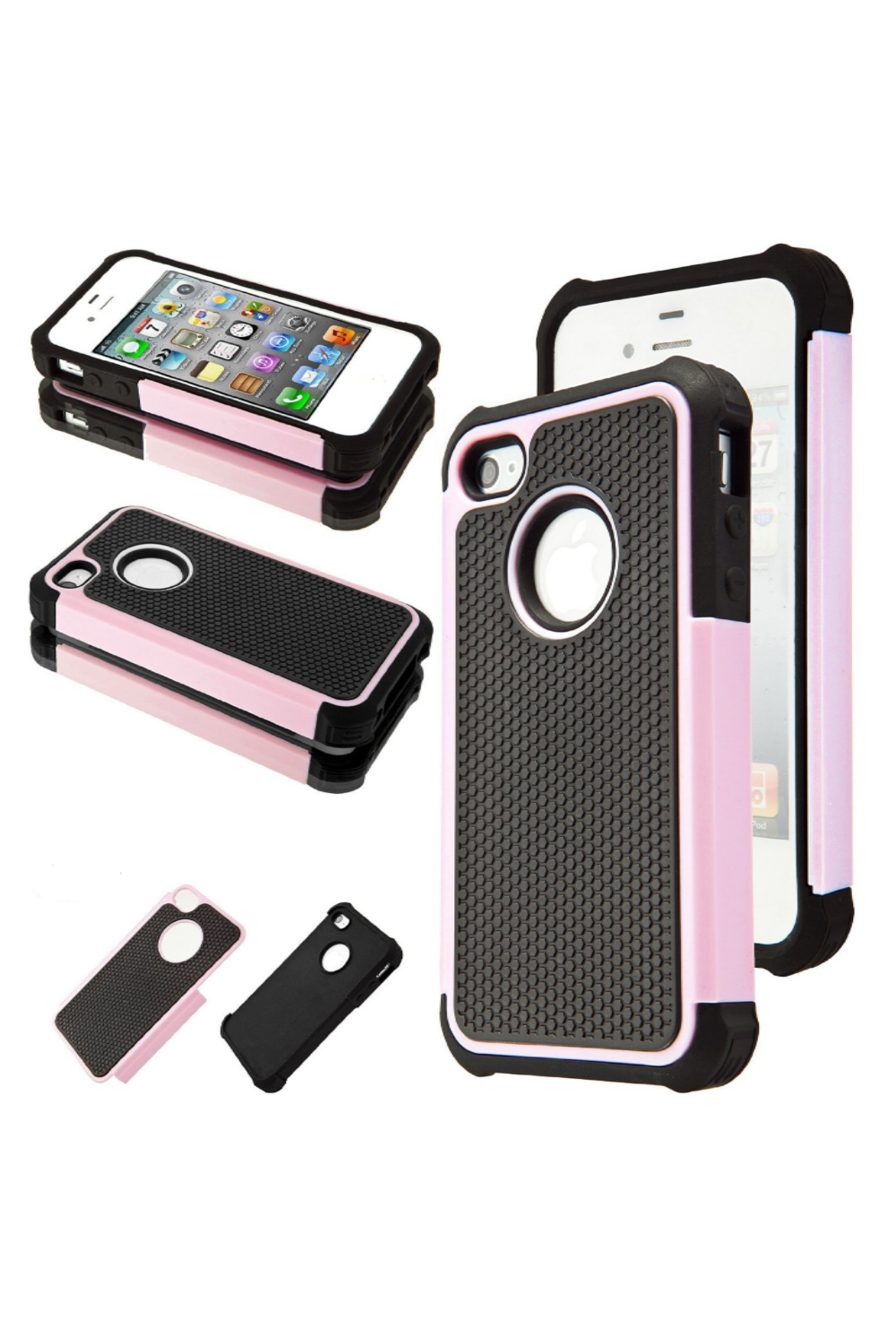 iPone 4/4s Hybrid Black/Pink Rubber Rugged Hard Impact Protector Case Cover