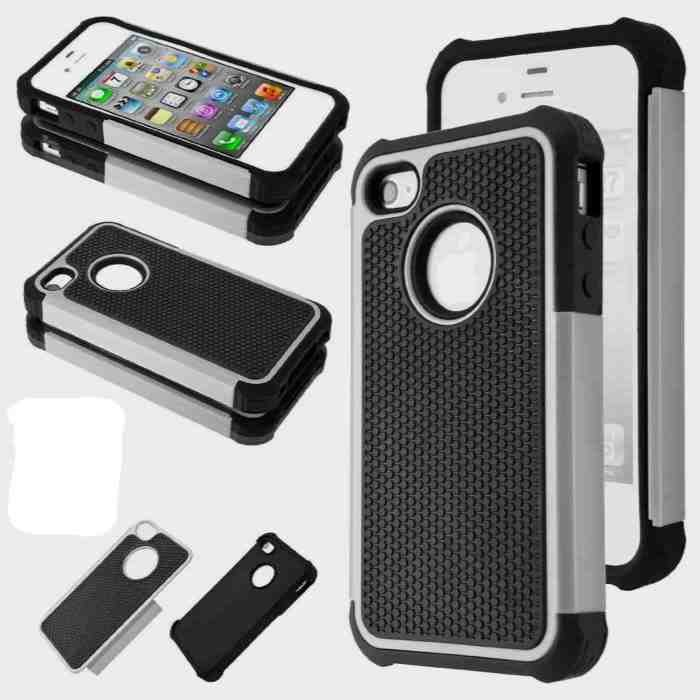 iPone 4/4s Hybrid Black/Gray Rubber Rugged Hard Impact Protector Case Cover