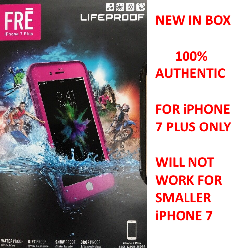 New Authentic Lifeproof FRE Waterproof Case Cover For iPhone 7 Plus (Pink Teal)