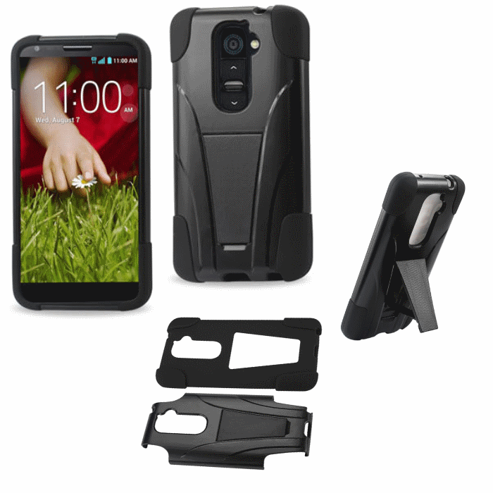LG G2 Black Heavy Duty Rugged Hard+Rubber Case Cover w/Stand Protector
