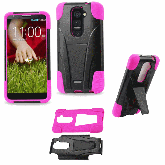LG G2 Pink Heavy Duty Rugged Hard+Rubber Case Cover w/Stand Protector