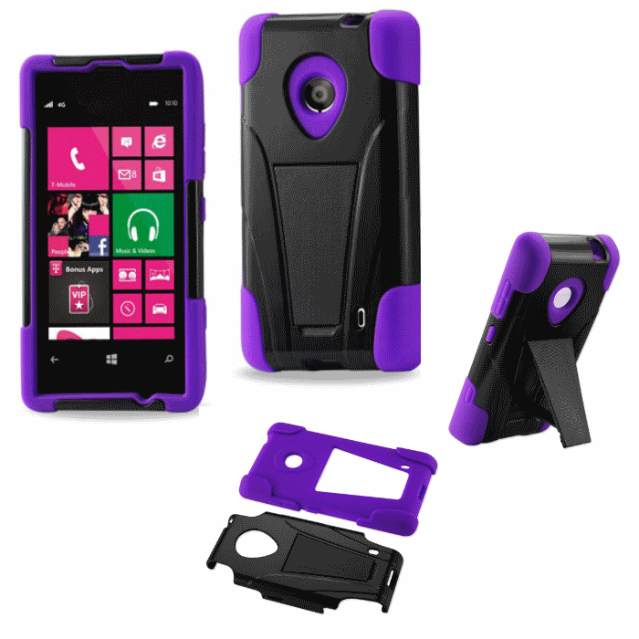 Nokia Lumia 521 Purple Heavy Duty Rugged Hard+Rubber Case Cover w/Stand