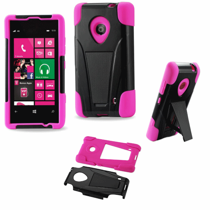 Nokia Lumia 521 Pink Heavy Duty Rugged Hard+Rubber Case Cover w/Stand Protector