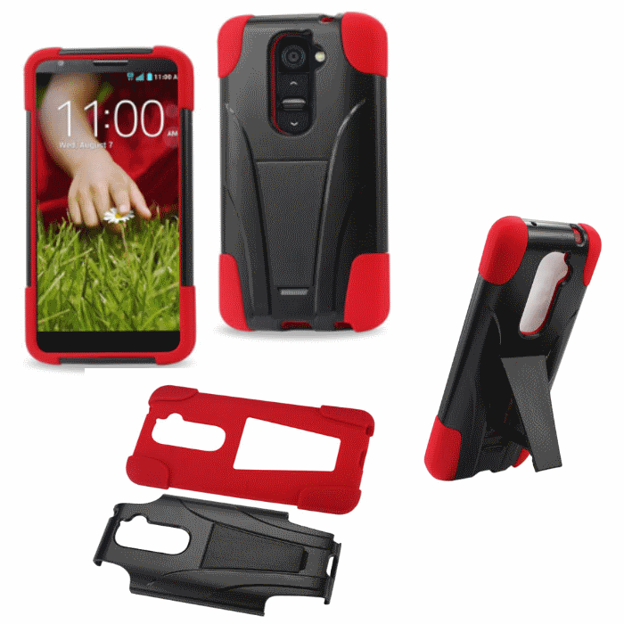 LG G2 Red Heavy Duty Rugged Impact Hard+Rubber Case Cover With Stand Protector
