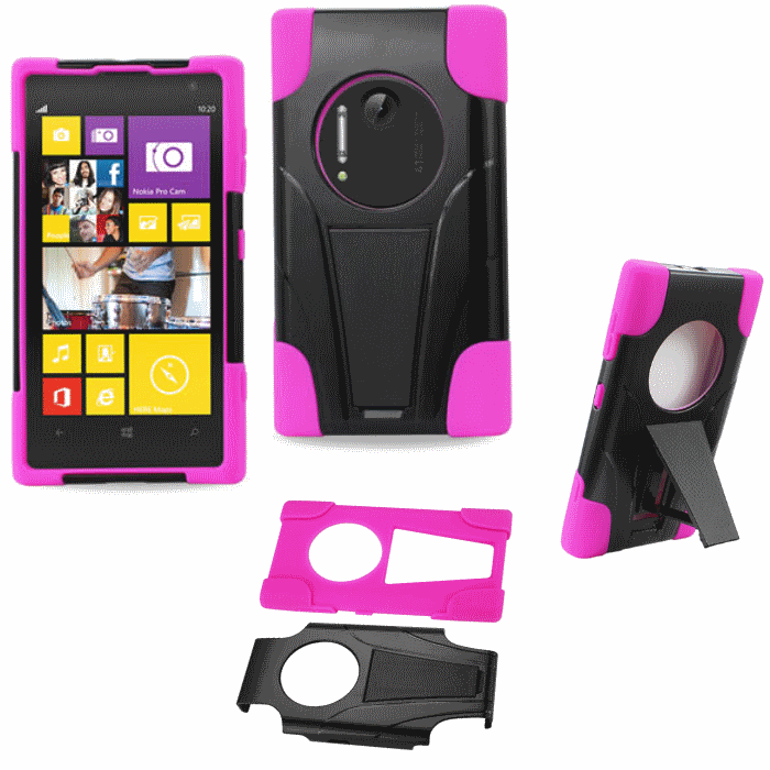 Nokia Lumia 1020 Pink Heavy Duty Rugged Hard+Rubber Case Cover w/Stand Protector