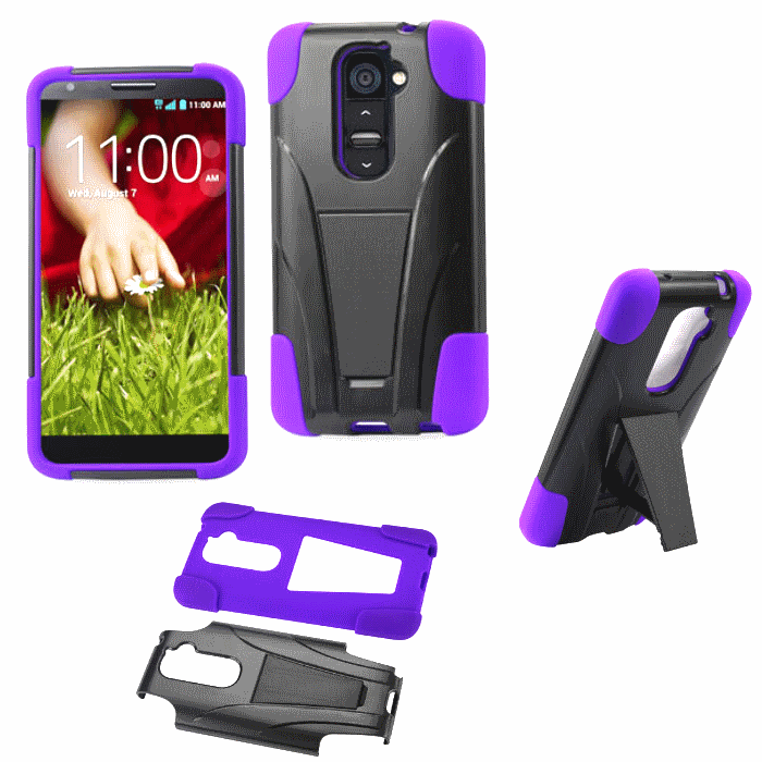 LG G2 Purple Heavy Duty Rugged Impact Hard+Rubber Case Cover w/Stand Protector