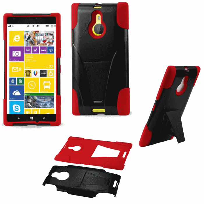 Nokia Lumia 1520 Red Heavy Duty Rugged Hard+Rubber Case Cover w/Stand Protector