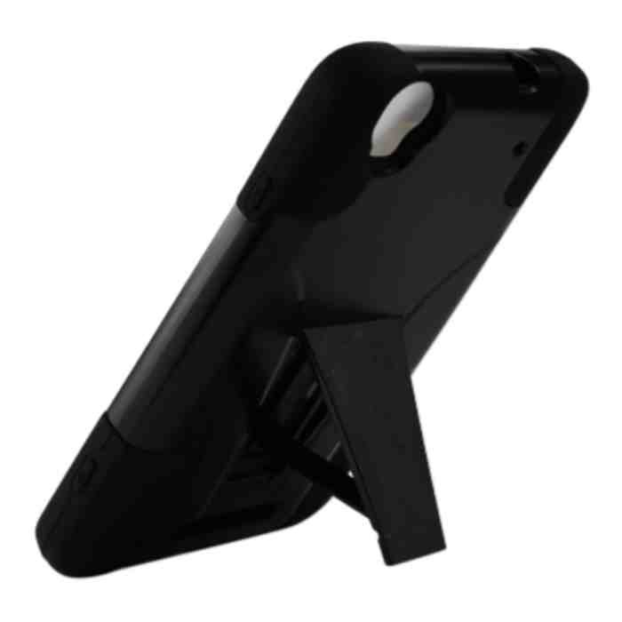 BoostMobile ZTE Max/N9520 Heavy Duty Rugged Impact Hard+Rubber Case Cover Stand