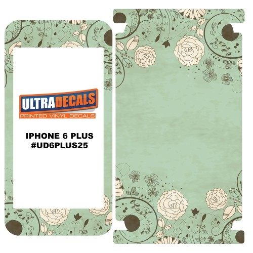 Skin Decal Sticker Wrap Vinyl For Apple iPhone 6/6S Plus Floral Greeting Green