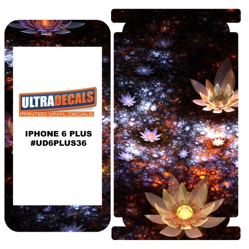 Skin Decal Sticker Wrap Vinyl For Apple iPhone 6/6S Plus Shiny Fractal Flowers