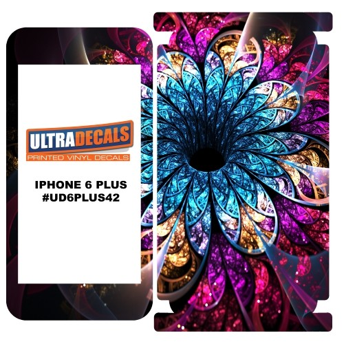 Skin Decal Sticker Vinyl Wrap For Apple iPhone 6/6S Plus Stained Fractal Flower