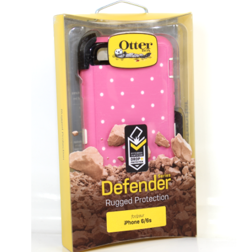 """Authentic OtterBox Defender Case for iPhone 6 6S 4.7"""" Candied Dots Pink Cover"""