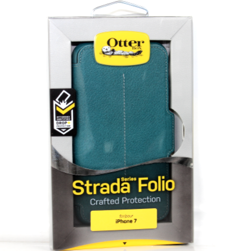 New Otterbox Strada Folio Leather Card Case Cover For iPhone 7 - Pacific Opal