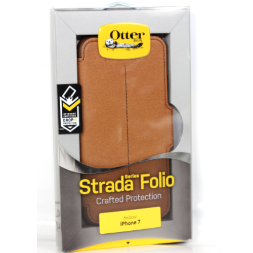 New Otterbox Strada Folio Leather Card Case Cover For iPhone 7 - Burnt Saddle